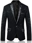 זול בלייזרים וחליפות לגברים-בגדי ריקוד גברים פול שחור אודם XL XXL XXXL בלייזר בסיסי גיאומטרי / שרוול ארוך