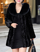 cheap Women's Fur & Faux Fur Coats-Women's Holiday / Going out Street chic / Sophisticated Plus Size Fur Coat - Solid Colored Shirt Collar