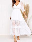 economico Vestiti da donna-Per donna Per uscire Spiaggia Sleeve Lantern Taglia piccola Chiffon Vestito A strisce A V Asimmetrico