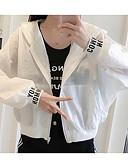 ieftine Tricou-Pentru femei Ieșire Regular Jachetă, Scrisă Capișon Manșon Lung Poliester Alb / Verde Deschis / Kaki M / L / XL