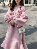 povoljno Majica-Žene Osnovni Pamuk Širok kroj Hlače - Slovo Kolaž Blushing Pink / Uski okrugli izrez / Puff rukav / Sexy