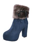 billige Damedunjakker og anorakker-Dame Fashion Boots PU Efterår vinter Afslappet Støvler Kraftige Hæle Rund Tå Støvletter Rosette Sort / Blå / Kamel