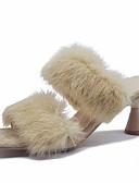 tanie Sukienki-Damskie Slingback Futro królika Jesień Casual Sandały Obcas flare Czarny / Różowy / Żółtobrązowy