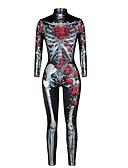 זול קווארץ-בגדי ריקוד נשים רוכסן חליפת יוגה / סרבל - שחור ספורט חג ליל כל הקדושים חליפת גוף יוגה, ריצה, כושר וספורט שרוול ארוך לבוש אקטיבי באט הרם, בקרת בטן, טייץ סטרצ'י (נמתח), גמישות גבוהה סקיני, רזה