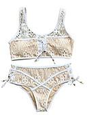 hesapli Bikiniler ve Mayolar-Kadın's Temel Boyundan Bağlamalı Beyaz Siyah YAKUT Wrap Yüksek Bel Bikiniler Mayolar - Solid Dantel Bağcık M L XL Beyaz