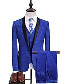 ieftine Jachete & Paltoane Bărbați-Bărbați Rever Shawl Blazer De Bază Ocazional afaceri-Mată Bloc Culoare / Manșon Lung / Muncă