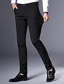 povoljno Muške duge i kratke hlače-Muškarci Osnovni Slim Chinos Hlače - Jednobojni Crn
