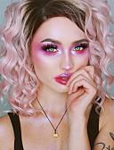 tanie Dwuczęściowe komplety damskie-Syntetyczne koronkowe peruki Luźne fale Różowy Włosie synetyczne Różowy Peruka Damskie Krótkie Siateczka z przodu Różowy
