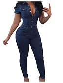 cheap Women's Jumpsuits & Rompers-Women's Going out Active Shirt Collar Navy Blue Wide Leg Jumpsuit, Solid Colored XL XXL XXXL Short Sleeve