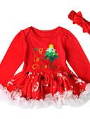 abordables Jupes pour Bébés-bébé Fille Actif / Basique Noël / Soirée / Anniversaire Imprimé Manches Longues Au dessus du genou Coton Robe Rouge
