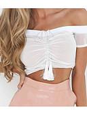 tanie Bikini i odzież kąpielowa 2017-T-shirt Damskie Z odsłoniętymi ramionami Szczupła - Solidne kolory