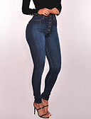 povoljno Ženske hlače-Žene Sofisticirano / pretjeran Veći konfekcijski brojevi Pamuk Uske Traperice Hlače - Jednobojni Drapirano Visoki struk Plava / Sexy