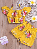 cheap Girls' Clothing Sets-Kids Girls' Boho Daily Sun Flower Floral Print Sleeveless Short Short Spandex Clothing Set Yellow