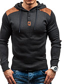 cheap Men's Shirts-men's long sleeve slim pullover - color block hooded