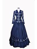 billige Brudesjaler-Rokoko / Victoriansk Kostume Dame Kjoler / Drakter Blå Vintage Cosplay Bomull Langermet Lang Lengde Halloween-kostymer