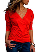 cheap Robes & Sleepwear-women's slim t-shirt - solid colored v neck