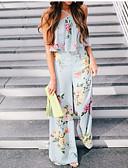 cheap Maxi Dresses-Women's Sports / Going out Active / Basic Halter Neck Light Blue Wide Leg Slim Jumpsuit, Floral Patchwork M L XL Cotton Sleeveless / Sexy