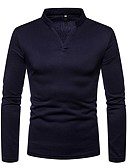 cheap Men's Sweaters & Cardigans-Men's Basic T-shirt - Solid Colored V Neck / Long Sleeve