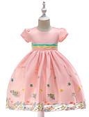 abordables Robes Soirée-Enfants Fille Rétro / Actif Soirée / Vacances Fleur Manches Courtes Mi-long Robe Vert