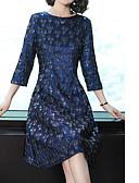 tanie Print Dresses-Damskie Puszysta Wyjściowe Bawełna Zmiana Sukienka - Kwiaty, Żakard Do kolan