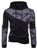 cheap Women's Down & Parkas-Men's Active Long Sleeve Hoodie - Color Block Hooded Black L