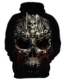 cheap Men's Jackets & Coats-Men's Exaggerated Hoodie - 3D / Skull, Print
