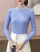 abordables Relojes de Moda-Mujer Noche Un Color Manga Larga Delgado Regular Pullover, Cuello Alto Blanco / Negro / Amarillo Tamaño Único