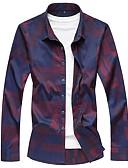 Χαμηλού Κόστους Ανδρικά μπλουζάκια και φανελάκια-Ανδρικά Πουκάμισο Βασικό Καρό Στάμπα