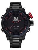 baratos Relógio Esportivo-ASJ Homens Relógio Esportivo Relógio Elegante Japanês Quartzo Aço Inoxidável Preta 30 m Impermeável Calendário Cronógrafo Analógico-Digital Luxo Clássico Fashion - Vermelho Azul / Noctilucente
