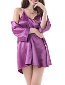 رخيصةأون القمصان وملابس النوم-نسائي بدلات ملابس نوم قياس كبير - شبكة, لون سادة / مع حمالة