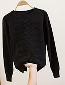povoljno Majica s rukavima-Žene Izlasci Jednobojni Dugih rukava Slim Regularna Pullover, Okrugli izrez Red / Bež / Bijela One-Size