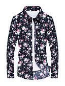 お買い得  メンズシャツ-男性用 プリント プラスサイズ シャツ 活発的 幾何学模様 ネイビーブルー XXXXL / 長袖