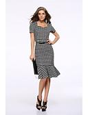 hesapli Mini Elbiseler-Kadın's Çalışma Vintage Temel İnce Bandaj Trompet / Balık Elbise - Kareli, Büzgülü V Yaka Diz-boyu Yüksek Bel