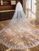 preiswerte Hochzeitsschleier-Zweischichtig Spitzen-Saum Hochzeitsschleier Kathedralen Schleier mit Paillette / Applikationen Spitze / Tüll