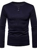 お買い得  メンズTシャツ&タンクトップ-男性用 Tシャツ Vネック ソリッド ダックグレー L / 長袖
