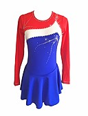 cheap Ice Skating Dresses , Pants & Jackets-Figure Skating Dress Women's / Girls' Ice Skating Dress Blue Spandex Micro-elastic Professional / Competition Skating Wear Floral / Botanical / Fashion / Rhinestone Long Sleeve Latin Dance / Folk