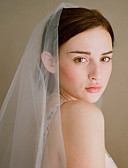 cheap Wedding Veils-One-tier Vintage Style / Classic Style Wedding Veil Fingertip Veils with Solid / Crystals / Rhinestones Tulle
