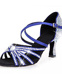 cheap Men's Blazers & Suits-Women's Latin Shoes Satin Heel Sparkling Glitter / Buckle / Crystals Flared Heel Customizable Dance Shoes Black / Brown / Blue