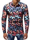 baratos Camisas Masculinas-Homens Camisa Social Básico Estampado, Estampa Colorida