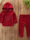cheap Baby Girls' Clothing Sets-Baby Girls' Casual / Basic Daily / Holiday Solid Colored Embroidered Long Sleeve Regular Polyester / Spandex Clothing Set Red / Toddler