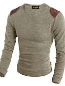 cheap Men's Sweaters & Cardigans-Men's Daily Color Block Long Sleeve Slim Regular Pullover, Round Neck Brown / Beige / Gray L / XL / XXL