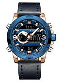 Недорогие Цифровые часы-NAVIFORCE Муж. Спортивные часы электронные часы Японский Японский кварц Стеганная ПУ кожа Черный / Синий 30 m Защита от влаги Календарь С двумя часовыми поясами Аналого-цифровые На каждый день Мода -