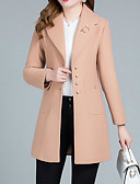 cheap Women's Blazers-Women's Going out / Work Regular Jacket, Solid Colored Fold-over Collar Long Sleeve Linen / Polyester Red / Pink / Khaki XXL / XXXL / 4XL