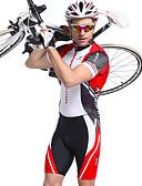 preiswerte Triathlon Bekleidung-Nuckily Herrn Kurzarm Triathlonanzug - Rot Geometrisch Fahhrad Atmungsaktiv, Anatomisches Design, UV-resistant Polyester, Elasthan Streifen / Dehnbar / Erweitert / SBS Reißverschlüsse