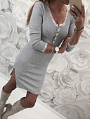 tanie Sukienki-Damskie Moda miejska Szczupła Spodnie - Solidne kolory Koronka / Rozcięcie Szary / Wyjściowe