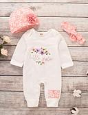 Χαμηλού Κόστους Βρεφικά σετ ρούχων-Μωρό Κοριτσίστικα Ενεργό / Βασικό Στάμπα Μακρυμάνικο Βαμβάκι / Πολυεστέρας Ένα Κομμάτι Λευκό / Νήπιο