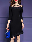 tanie Sukienki-Damskie Wyjściowe Elegancja Bawełna Szczupła Pochwa Sukienka - Solidne kolory, Koronkowe wykończenie Do kolan Czarny