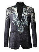 ieftine Blazer & Costume de Bărbați-Bărbați Zilnic Regular Blazer, Mată / Geometric Rever Shawl Manșon Lung Poliester Negru XL / XXL / XXXL