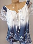 voordelige Damesshirts-Dames Standaard Grote maten - Overhemd Geometrisch Boothals Wijn XXXL
