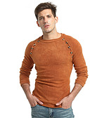 cheap Men's Sweaters & Cardigans-Men's Daily Basic Solid Colored Long Sleeve Slim Regular Pullover, Round Neck Fall Dark Gray / Camel XL / XXL / XXXL